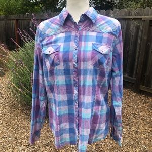 Cowgirl Up Western Plaid Button-Down Shirt-Size XL